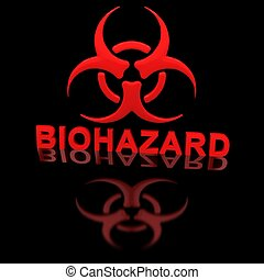 Biohazard sign on the black glossy surface.