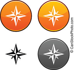 Compass button. - Compass round buttons. Black icon...