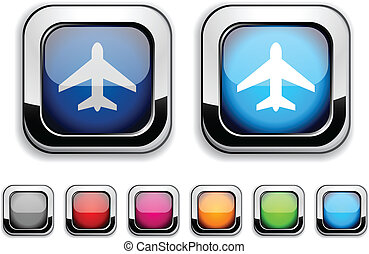 Aircraft button. - Aircraft realistic icons. Empty buttons...