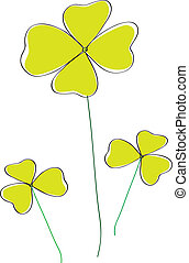 clover - three green clover on white background