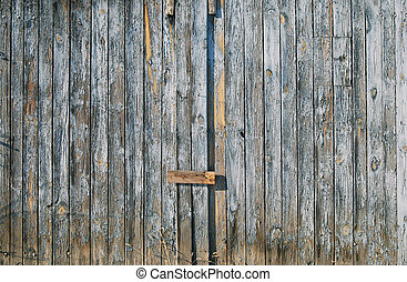 Old faded blue wooden fence door - Old faded blue wooden...