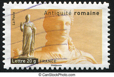 Statue of Juno - FRANCE - CIRCA 2007: stamp printed by...