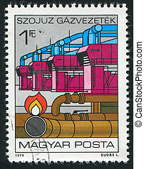 Natural Gas Pipeline - HUNGARY - CIRCA 1979: stamp printed...