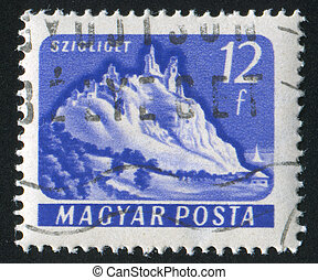 Szigliget Castle - HUNGARY - CIRCA 1961: stamp printed by...