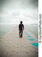single man walk - Dramatic landscape of single man walk