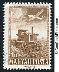tractor - HUNGARY - CIRCA 1950: stamp printed by Hungary,...
