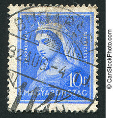 Elizabeth - HUNGARY - CIRCA 1932: stamp printed by Hungary,...