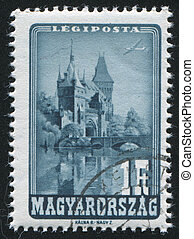 Vajdahunyad Castle - HUNGARY - CIRCA 1947: stamp printed by...