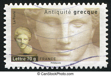 Head of Aphrodite - FRANCE - CIRCA 2007: stamp printed by...