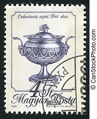 sugar bowl - HUNGARY - CIRCA 1988: stamp printed by Hungary,...