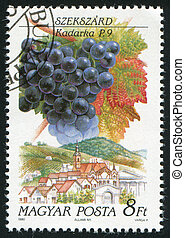 grape and farm - HUNGARY - CIRCA 1990: stamp printed by...