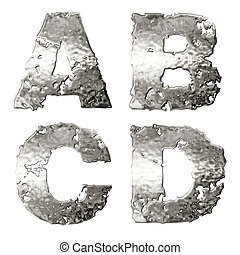 Metallic alphabet - Metallic alphabet isolated on white...