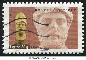 Head of Pericles - FRANCE - CIRCA 2007: stamp printed by...