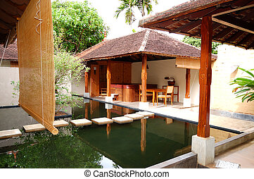 SPA with outdoor jacuzzi at luxury hotel, Bentota, Sri Lanka...