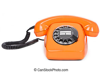 classic dial phone on white background