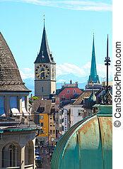 Zurich - View of the old city of Zurich