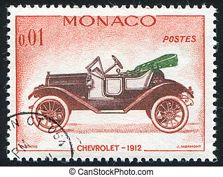 Chevrolet - MONACO - CIRCA 1961: stamp printed by Monaco,...