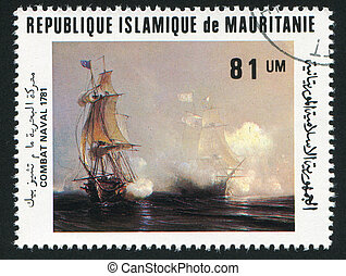 Battle of Chesapeake Bay - MAURITANIA - CIRCA 1981: stamp...
