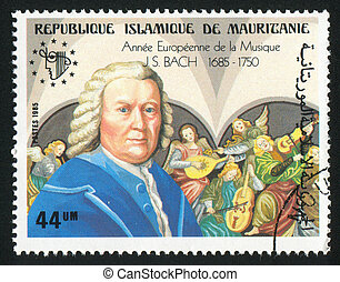 Bach - MAURITANIA - CIRCA 1985: stamp printed by Mauritania,...
