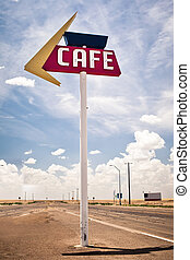 Cafe sign along historic Route 66 in Texas. Vintage...