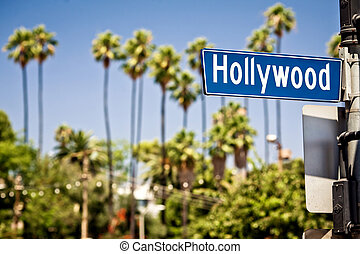 Hollywood sign in LA - Hollywood boulevard sign, with palm...