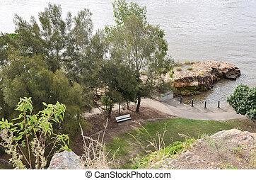 Rocky outcrop - A rocky outcrop on the south bank river...