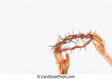 crown of thorns and bloody hands
