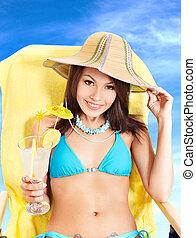 Girl in bikini drinking cocktail - Girl in bikini drink...