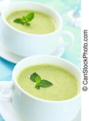 Soup of green vegetables