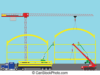 Construction Site - A Construction Site with Tower Crane...