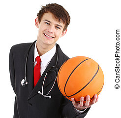 Doctor with a basketball