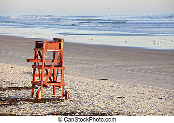 Lifeguard seat - seen morning time in Daytona Beach
