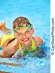 Child in swimming pool - Little girl in swimming pool....