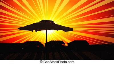 sumer sunset illustration - Summer sunset illustration for...