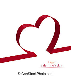 red ribbon heart Vector illustration