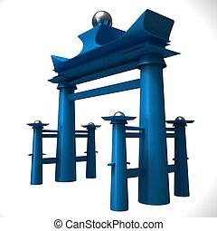Japanese gate on a white background