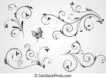 Set of floral swirl designs - Set of floral black design...