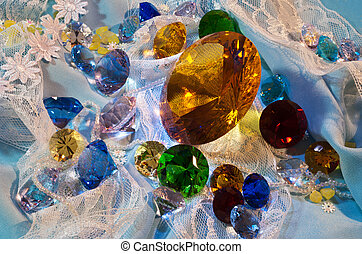 Collection of glass gems with yellow in center