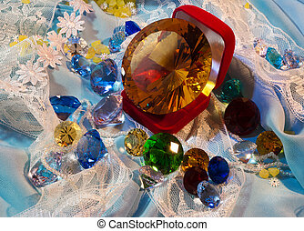 Yellow glass gem in the red box surrounded by other gems