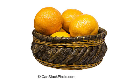 clementines - several clementines in a basket isolated on...