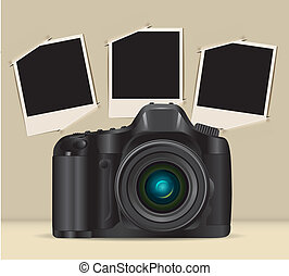 camera and photo frames