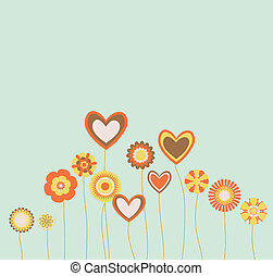 abstract retro hearts and flowers