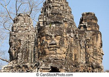 Bayon - Giant stone faces of Bayon. Angkor, Cambodia