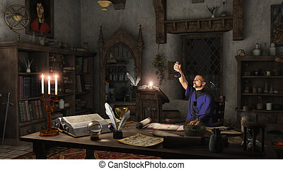 Alchemist in his Study - Alchemist working in his study...