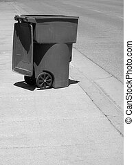 Garbage Can on Street - Garbage can on street illustrating...