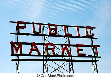 Public Market Sign - Public Market sign with sky in...