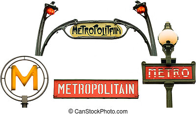 Set of metro signs in Paris, France - Set of metro signs...