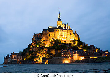 Abbey Le Mont Saint Michel - Night view , Normandy, France