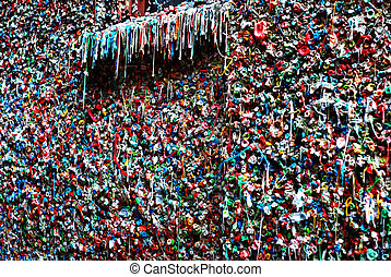 Seattle Gum Wall - Seattle Washington famous gum wall detail