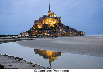 Mount Le Mont Saint Michel - Night view , Normandy, France